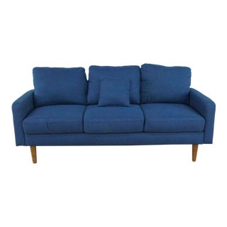 Cb2 Blue Upholstered Sofa For Sale