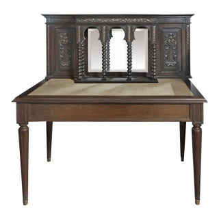 Early 20th Century Brown Writing Desk With Carved Detail For Sale