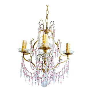 Midcentury French Crystal Chandelier For Sale