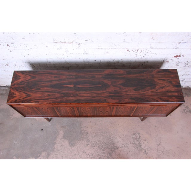 Brown Danish Modern Rosewood Sideboard Credenza, Newly Refinished For Sale - Image 8 of 12