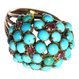 Antique Victorian 14k Ruby and Turquoise Ring For Sale