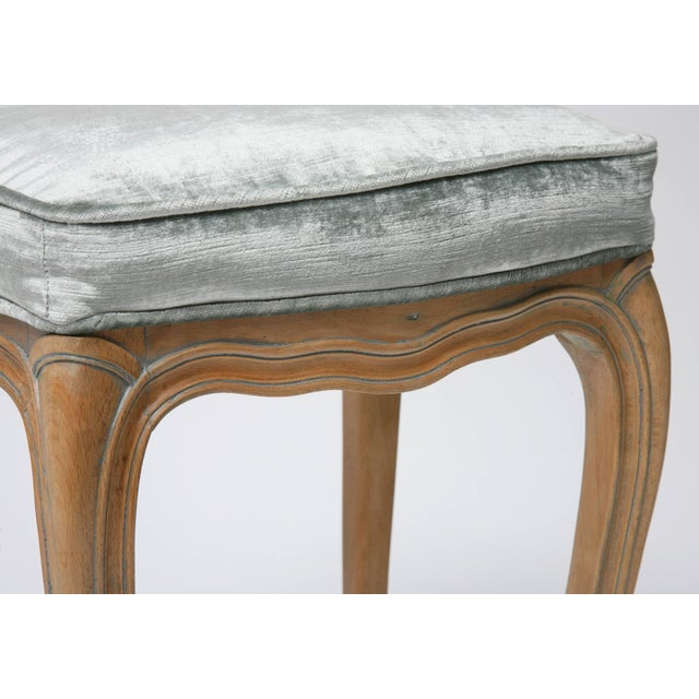 Vintage Louis XV Beechwood Benches / Stools in Blue-Grey Silk Velvet - a Pair For Sale - Image 10 of 11