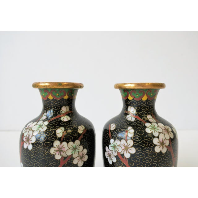Black White and Ox Blood Cloisonne and Brass Vases For Sale - Image 9 of 13