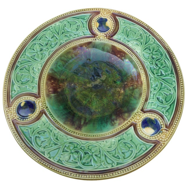 Antique Majolica Wall Plate - Image 1 of 5