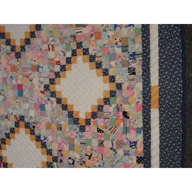 Blue Fantastic Mini-Pieced Postage Stamp Quilt from Pennsylvania For Sale - Image 8 of 10