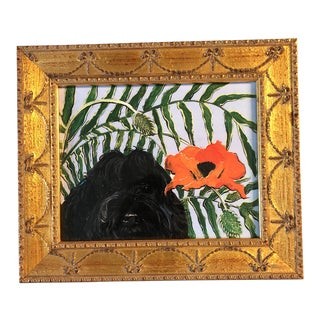 """""""Portie"""" Portuguese Water Dog With Poppy Print For Sale"""