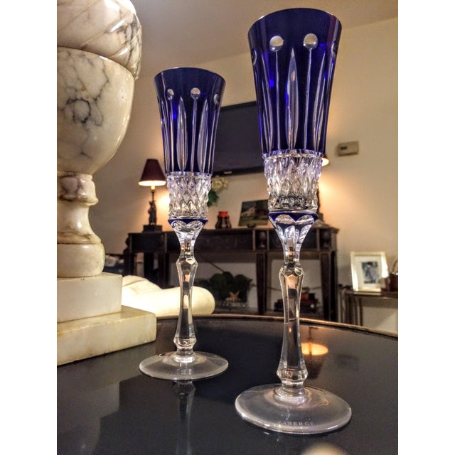 Faberge Xenia Cobalt Blue Champagne Flutes - A Pair For Sale - Image 4 of 8