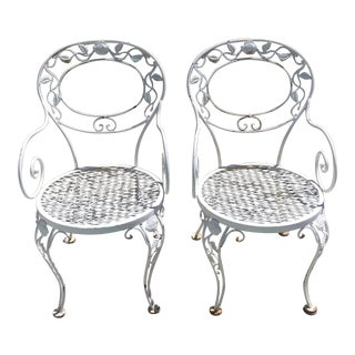 Vintage Russel Woodard Iron Patio Chairs - a Pair For Sale