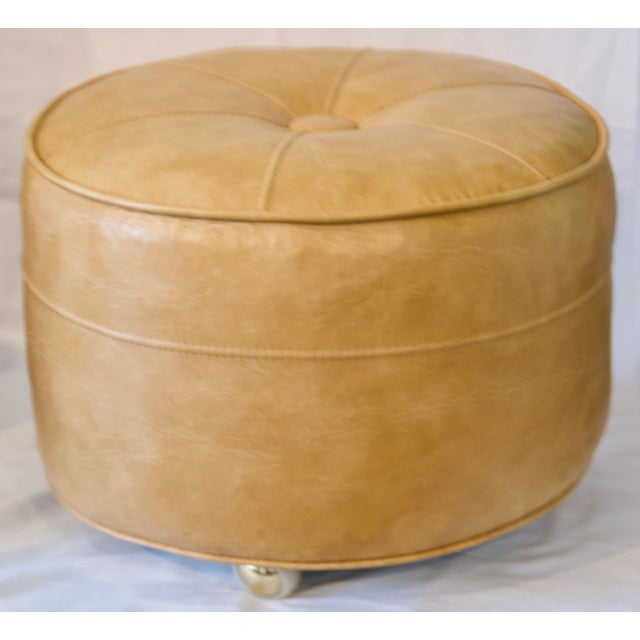 1970s Leather Moroccan-Style Pouf Ottoman For Sale - Image 13 of 13