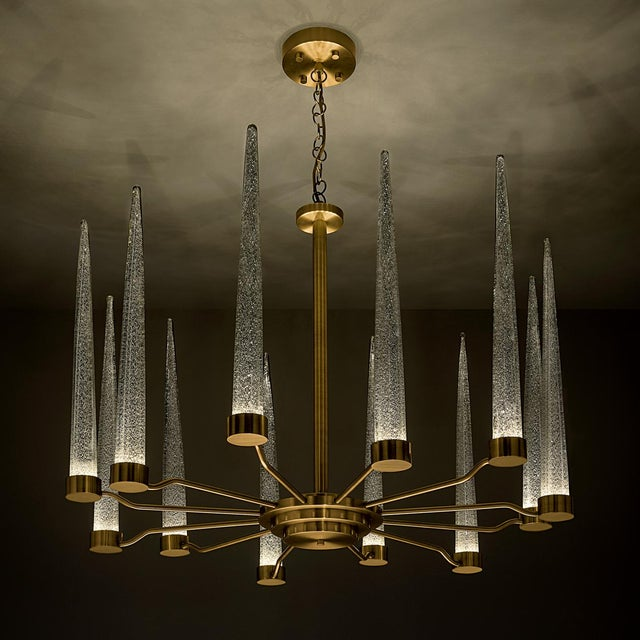 Hollywood Regency English Brass Icicle Ceiling Light For Sale - Image 3 of 6