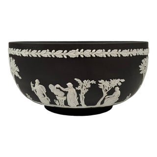 1960s Wedgwood Black Basalt Jasper Ware Centerpiece Bowl For Sale