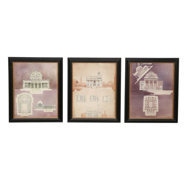 1910s Watercolor Architectural Rendering For Sale - Image 5 of 6