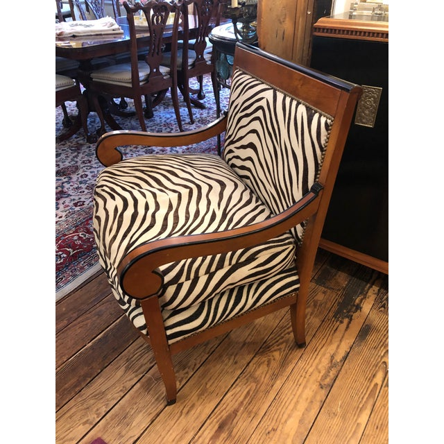 1980s Vintage Printed Zebra Cowhide Upholstery Chair For Sale - Image 9 of 9