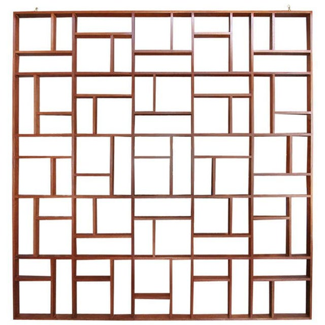 Brown Mid Century Modern Geometric Room Divider For Sale - Image 8 of 8