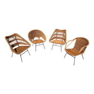 Mid Century Rattan and Bamboo Chairs With Cast Iron Legs - Set of 4 For Sale