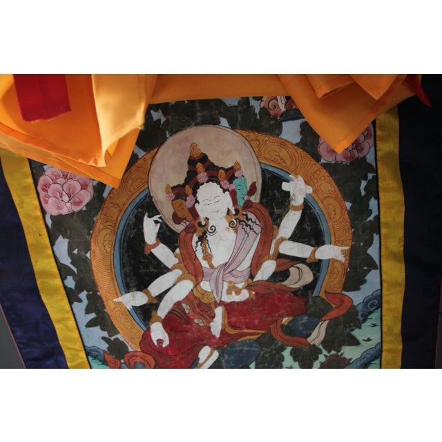 "The basis for Tibetan meditation A great backdrop for Tibetan altar listed on this site 36"" L x 26"" W On wooden dowels,..."
