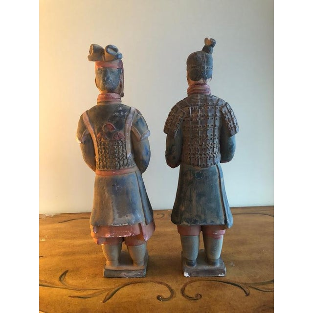 Asian Hand Painted Chinese Emperor Qin She Huang Terracotta Figurines - A Pair For Sale - Image 3 of 7