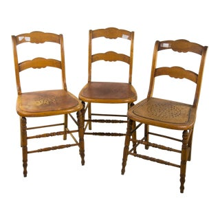 Rustic Arts & Crafts Wooden Chairs - Set of 3