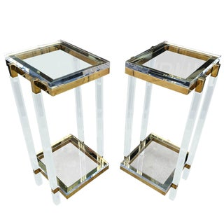 Brass and Lucite Side Tables or Pedestals by Charles Hollis Jones For Sale