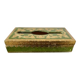 Vintage Florentine Green Gilt Tissue Box Cover For Sale