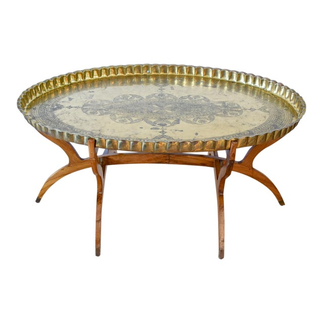 20th Century Moroccan Brass Tray and Teak Spider Leg Table For Sale