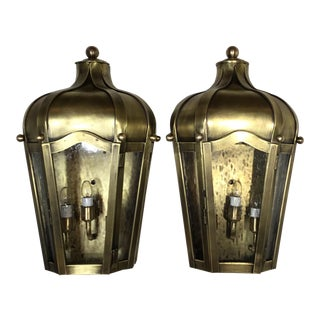 Handcrafted Wall Mounted Brass Lantern - a Pair For Sale