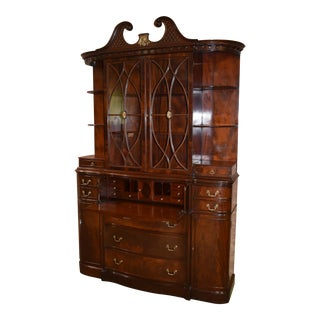 Vintage Mahogany Regency Style China /Bookcase/Secretary Desk For Sale