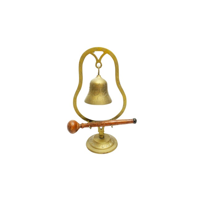 Vintage Mid Century Hand Made and Etched Hanging Brass Bell With Wooden Mallet For Sale