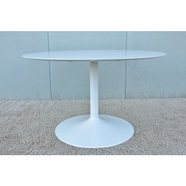 """1950s Mid-Century Modern Eero Saarinen Style 48"""" Round White Top Tulip Dining Table - Image 3 of 13"""