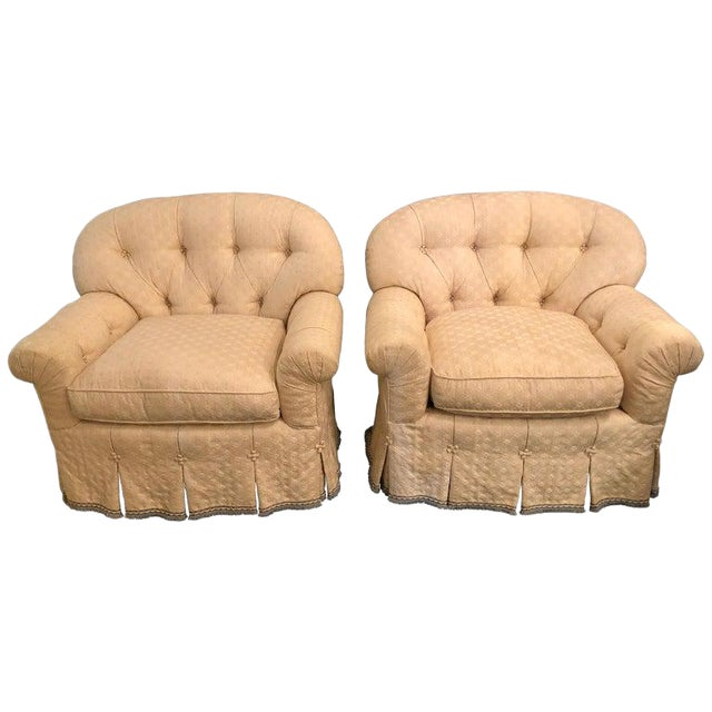 Pair of Lined and Pleated Spectacular Overstuffed Boudoir or Lounge Chairs For Sale