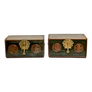 Pair Small Black Lacquer Trunks/Boxes, 19th C. For Sale