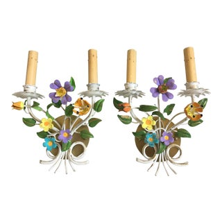 1950s Italian Floral Sconces - a Pair For Sale
