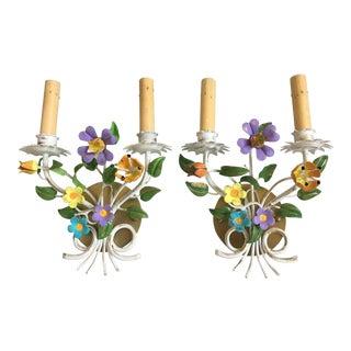 1950s Italian Floral Sconces - a Pair For Sale
