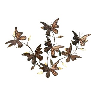 Mid-Century Metal Butterfly Wall Sculpture For Sale
