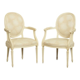 Baker French Louis XVI Style Vintage Paint Frame Armchairs - a Pair For Sale