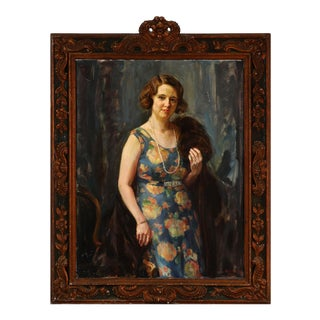 """1933 """"Portrait of Elga Collin"""" Oil Painting by Heinrich Dohm, Framed For Sale"""