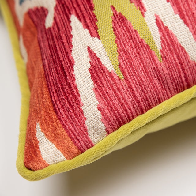 Red and Green Velvet Geometric Patterned Pillow For Sale - Image 4 of 6
