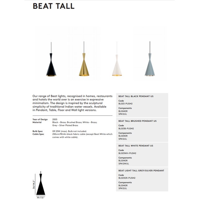 Tom Dixon Beat Tall Pendant Black For Sale In Los Angeles - Image 6 of 8
