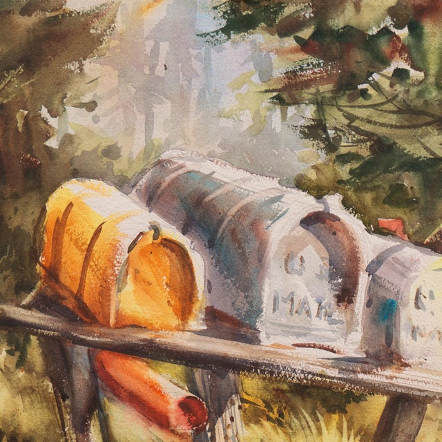 'Rural Route Mailboxes' by Jane Burnham, California Woman Artist, Society of Western Artists For Sale - Image 4 of 8