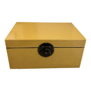 Yellow Leather Clad Asian Style Box For Sale