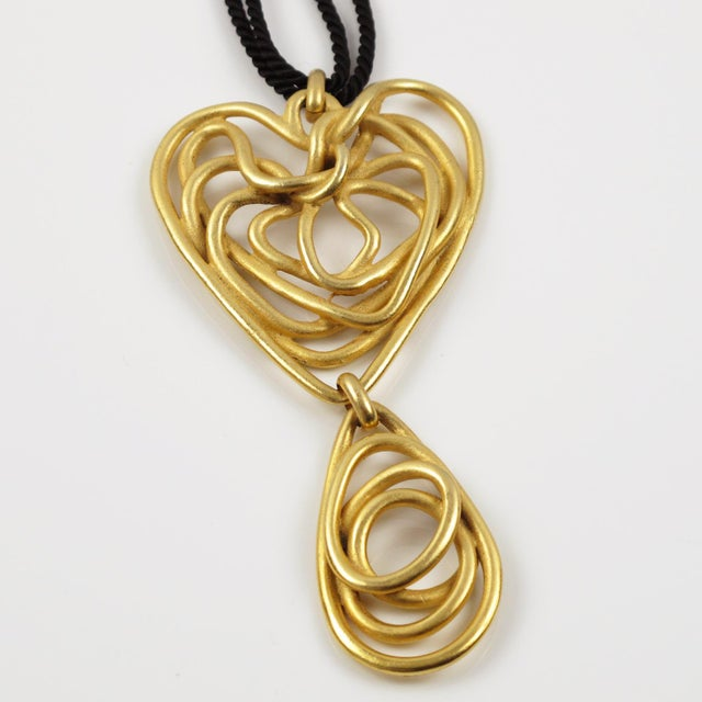 Balenciaga Paris Pendant Necklace Gilt Metal Wired Dangling Spiral For Sale In Atlanta - Image 6 of 8