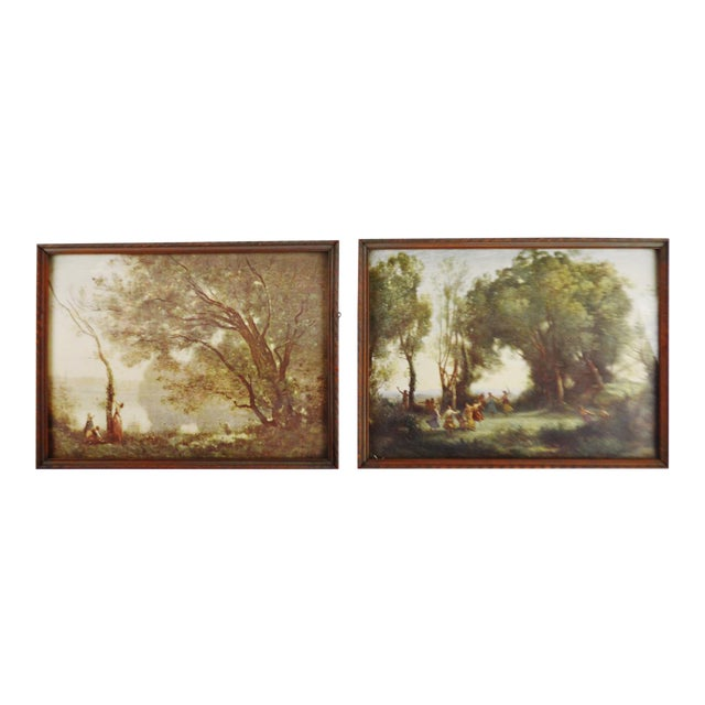Jean Baptiste Camille Corot Framed Prints - A Pair For Sale