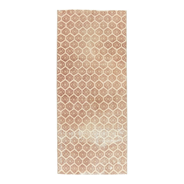 1960s Honeycomb Neutral Ivory Turkish Hand-Knotted Runner For Sale