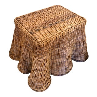 Vintage Palm Beach Tropical Trompe l'Oeil Wicker Draped Coffee Cocktail Side End Table For Sale