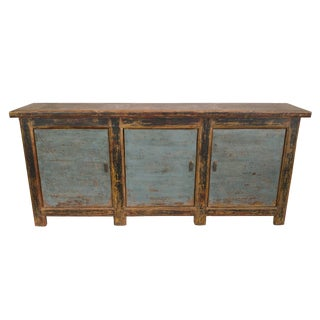 Antique Blue Black Gansu 3 Door Sideboard For Sale