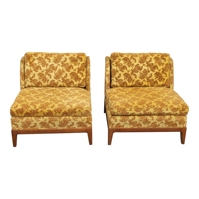 1950s Vintage Velvet Winged Sided Lounge Chairs - a Pair For Sale