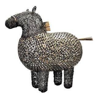 Brutalist Metal Horse Table Sculpture -- Brutalist Mid Century Organic Modern Boho Chic Tropical Coastal MCM Animal Botero