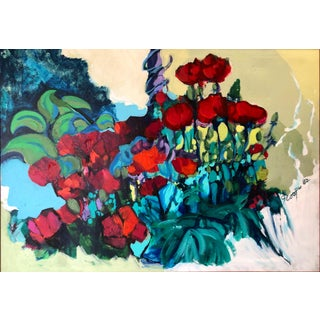 """Ny Artist Original Vintage Expressionist Floral Still Life Painting """"Red Poppies' 1982 For Sale"""