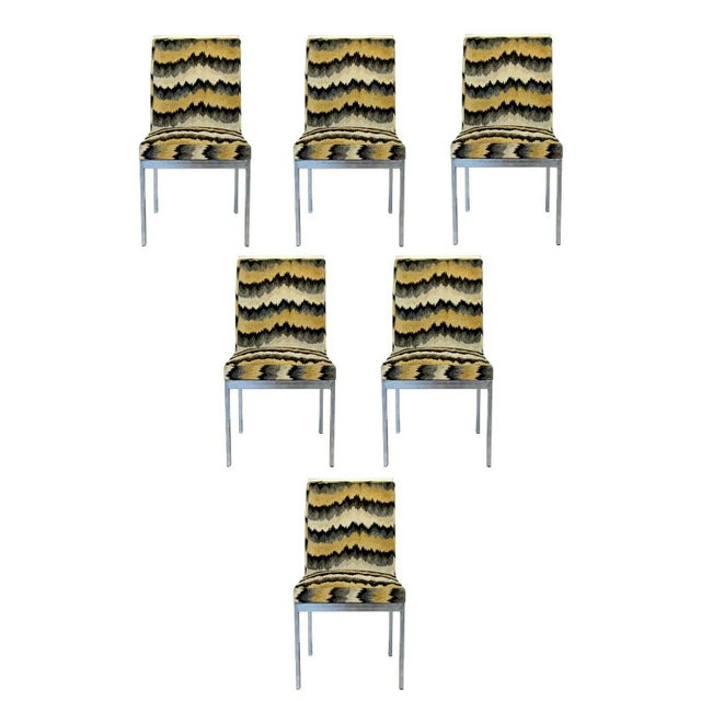 1970s Mid Century Modern Set of 6 Milo Baughman Dia Chrome Side Dining Chairs 1970s For Sale - Image 5 of 5