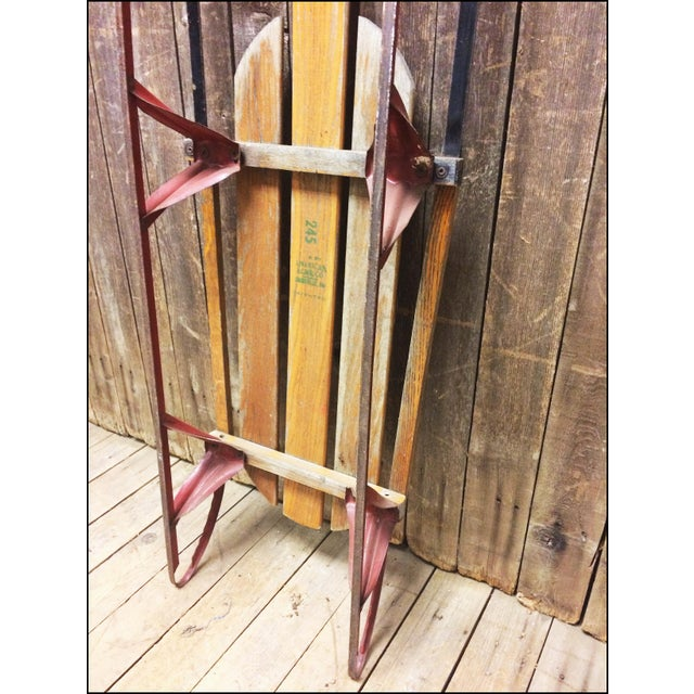 Wood Vintage Weathered Wood & Metal Runner Sled -- Rocket Plane For Sale - Image 7 of 11